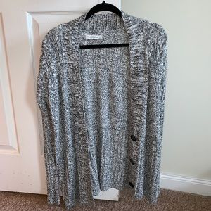 Gray and White Speckled Cardigan